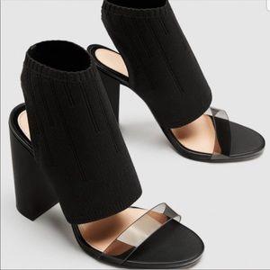 Zara vinyl sock bootie Heels. NWOT
